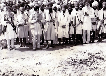 Panthic leaders gathered at the antim sanskar site