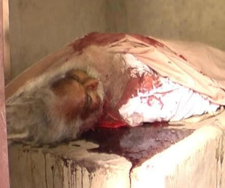 Blood saoked body of Mahant Suraj Mani lying at his dera