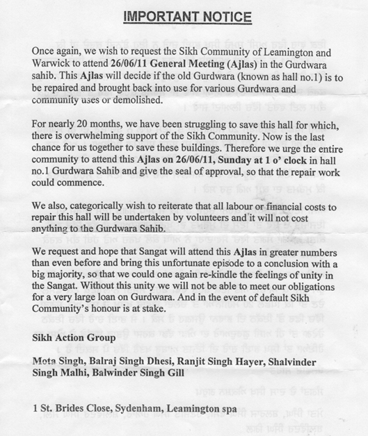 Copy of Notice by Sikh Action Group