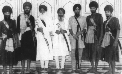 Babbar Singhs with Jathedars of Takht Sri Keshgarh Sahib