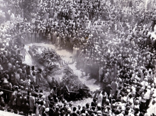 Scene of Antim Sanskar of the 13 Shaheeds of Vaisakhi 1978